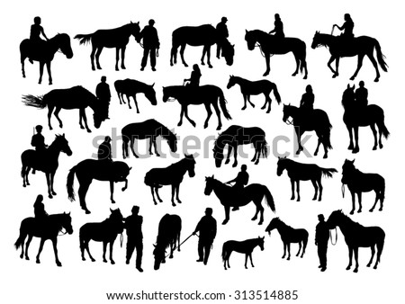 Horses and people silhouettes set