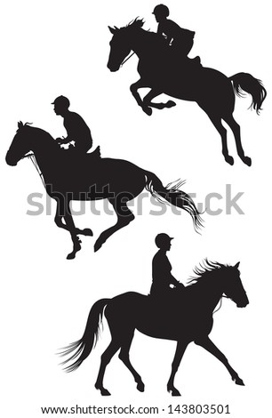Horses and riders, Equestrian sport vector silhouettes, Show jumping, Dressage, Derby, racing, The Sport of Kings