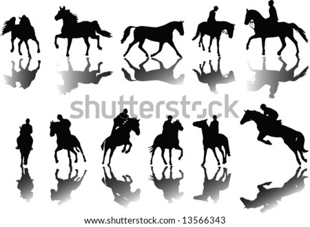 Horses and riders silhouettes with shade - stock vector