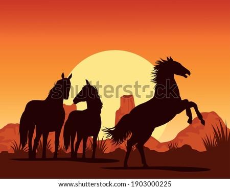 horses black animals silhouettes in the deser landscape vector illustration design Zdjęcia stock ©