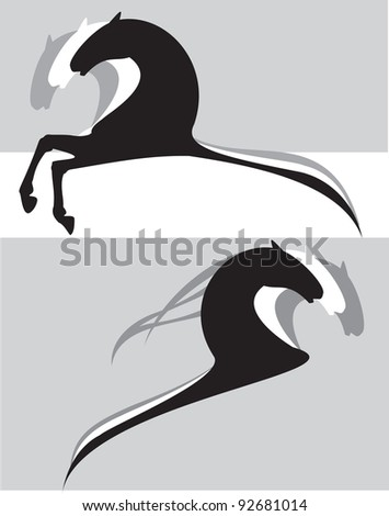 horses black cartoon