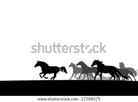 horses herd silhouettes. easy to edit