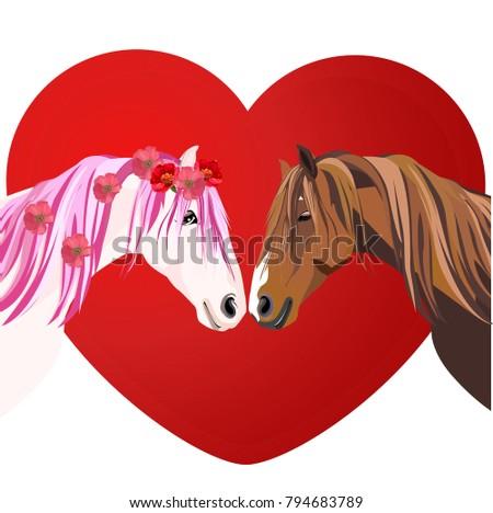 horses love heart isolated on
