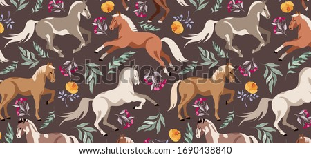 horses pattern wild horses and