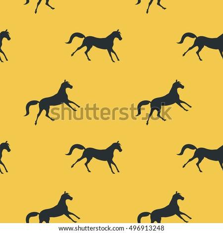 horses running black silhouette