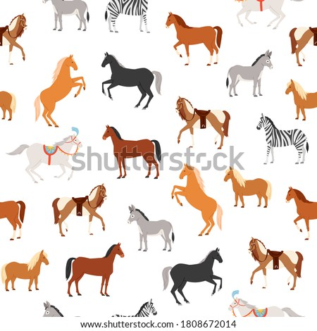 Horses seamless pattern vector illustration. Cartoon flat herbivorous ungulates diverse includes horse, pony, zebra donkey running or standing. Farm domestic, circus and wild animal wallpaper design