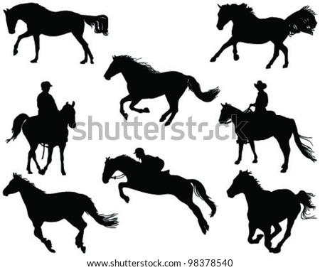 horses silhouette 2 vector