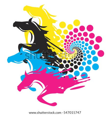 horses with print color circle