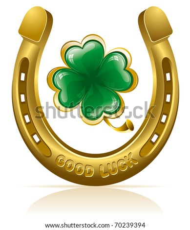Horseshoe and four leaf clover - lucky symbol