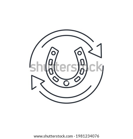 Horseshoe and movement. The volatility of fortune. Changes in fate. Vector linear icon isolated on white background. Stock photo ©