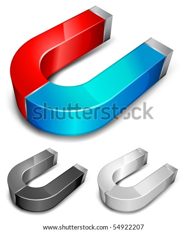 Horseshoe color magnets over white background, vector illustration