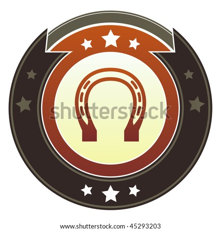 Horseshoe, luck, rodeo, or Western icon on round red and brown imperial vector button with star accents
