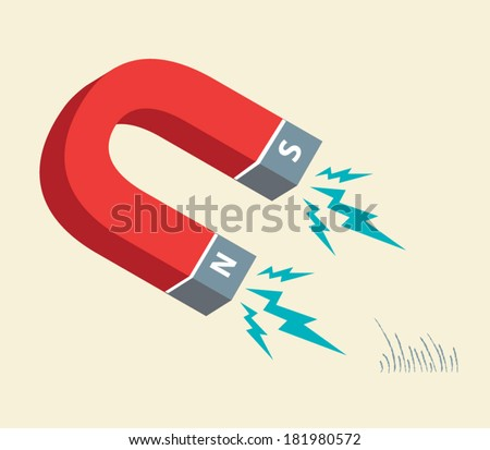 Horseshoe Magnet attracts iron filings. Illustration Vector. Editable Clip Art.