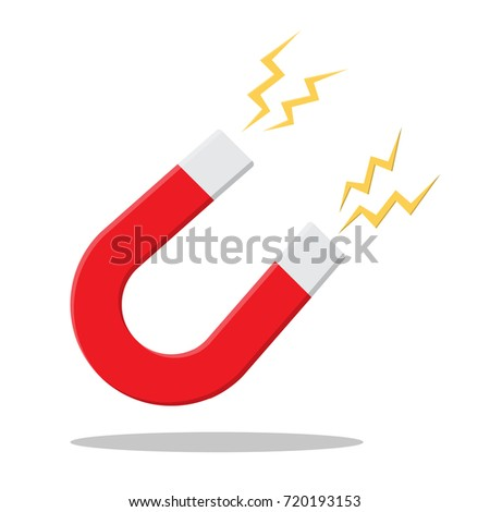 horseshoe magnet sign. Magnetism, magnetize Vector illustration