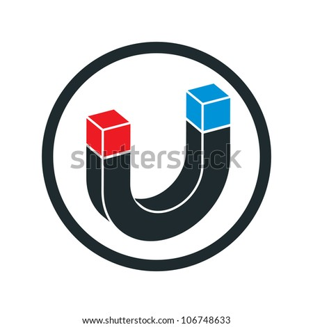 Horseshoe magnet vector icon.