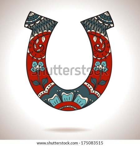 horseshoe with floral ornament - stock vector