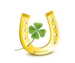 Horseshoe with shamrock, New Year and Lucky Charms Card, Vector illustration isolated on white background
