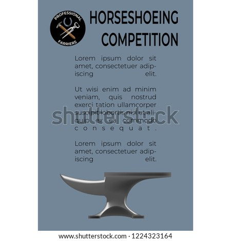 Horseshoeing Competition leaflet template in realistic style with a logo with nippers, horseshoe and hammer. Fine for promo materials, leaflets, banners, brochures.