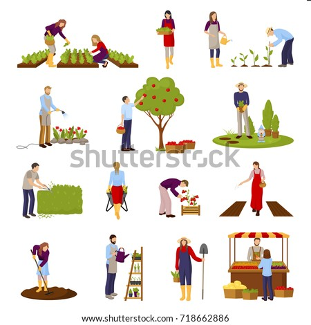 Horticulture and gardening flat set with people growing plants, flowers, fruits, sale of crop isolated vector illustration