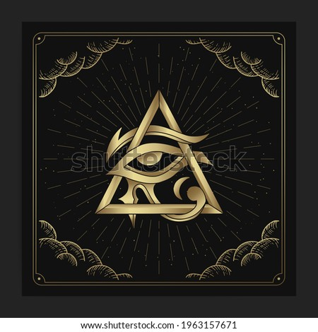 Horus eye, the god of ancient egypt with engraving, hand drawn, luxury, celestial, esoteric, boho style, fit for spiritualist, religious, paranormal, tarot reader, astrologer or tattoo vector Stock photo ©