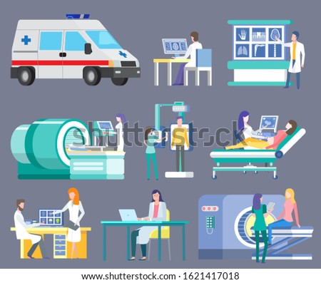 Hospital and clinics vector, isolated ambulance and doctors in laboratory. Working doc, ct computed tomography and scanning of patients roentgen scan