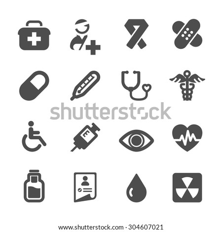 hospital and medical icon set, vector eps10.