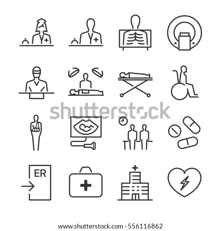 Hospital and medical line icon set 1. Included the icons as doctor, nurse, surgeon, hospital, patient, drug and more.