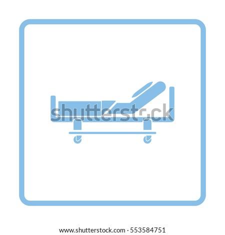 Hospital bed icon. Blue frame design. Vector illustration.