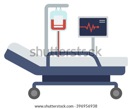 Hospital bed with medical equipments.