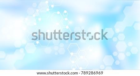 Hospital blurred background. Medical backdrop with molecules. Blur interior inside building with light background. Vector illustration.