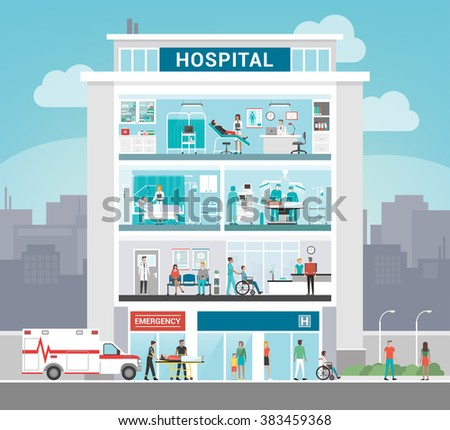 Hospital building and department with doctors working, office, surgery, ward, outpatient and reception, healthcare concept