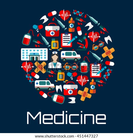 Hospital building, doctor and ambulances, first aid kits, medicine bottles and syringes, hearts, teeth and blood bags, microscopes and DNA icons creating a circle symbol