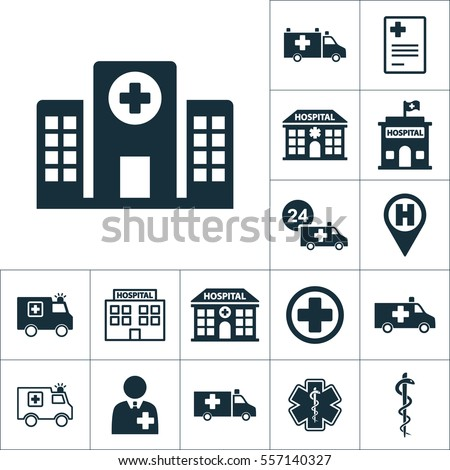 hospital building front icon, medical set