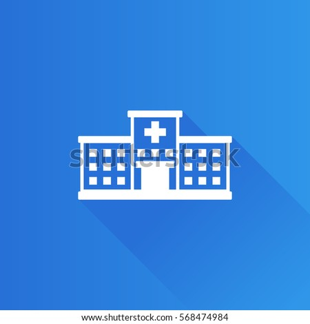 Hospital building icon in Metro user interface color style. Medical healthcare patients