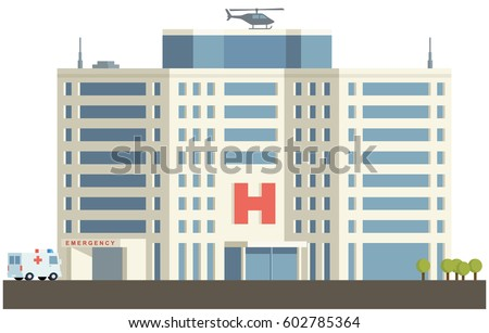 Hospital Building in Flat Design.