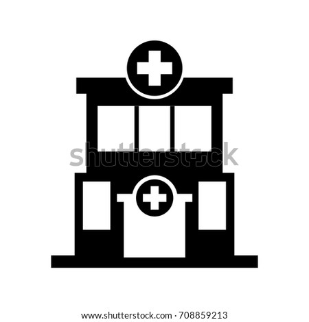 hospital building medical center front view icon