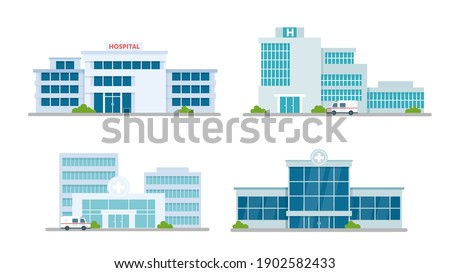 Hospital building medical office vector illustration set. Cartoon modern medicine clinic skyscrapers collection, outdoor facade hospital exterior with ambulance car and big windows isolated on white