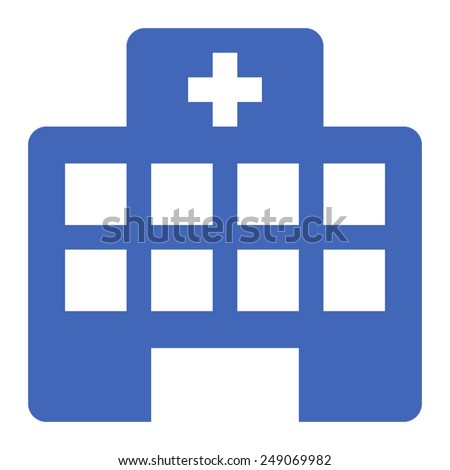 Hospital building or urgent care hospital flat icon for apps and websites