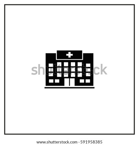 Hospital Building Vector Icon.