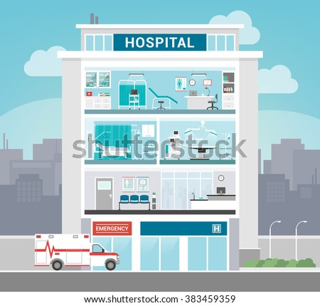 Hospital building with departments, office, operating room, ward, waiting room and reception, healthcare concept Stock photo ©