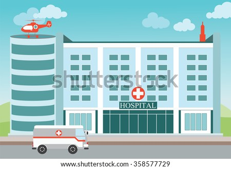 Hospital building with Medical helicopter and ambulance,exterior building ,vector illustration.