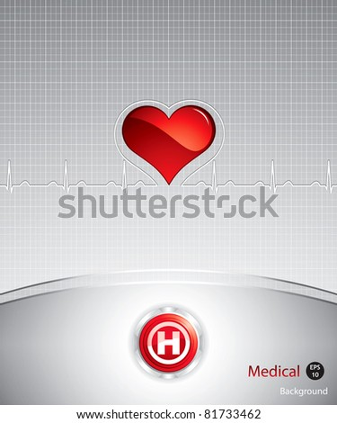 Hospital button on silver medical background.Steel style button