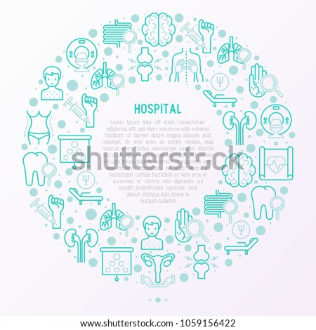 Hospital concept in circle with thin line icons for doctor's notation: neurologist, gastroenterologist, manual therapy, ophtalmologist, cardiology, allergist, dermatologist. Vector illustration.