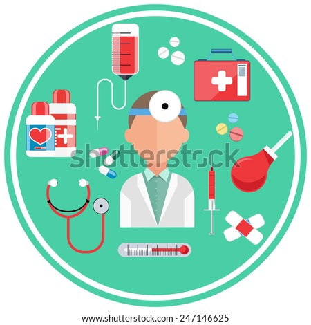 Hospital concept with item icons Doctor with first aid kit in flat design style