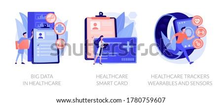 Hospital database, clinic patients records server. Big data in healthcare, healthcare smart card, healthcare trackers wearables and sensors metaphors. Vector isolated concept metaphor illustrations