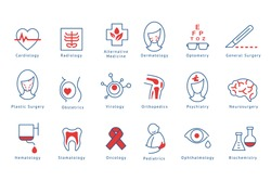 Hospital departments icons set vector Illustrations on a white background