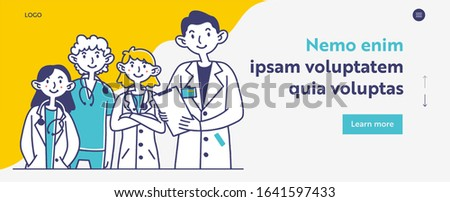 Hospital doctors staff. Medical professionals in white coats and scrubs with stethoscopes flat vector illustration. Consultation, expertise concept for banner, website design or landing web page