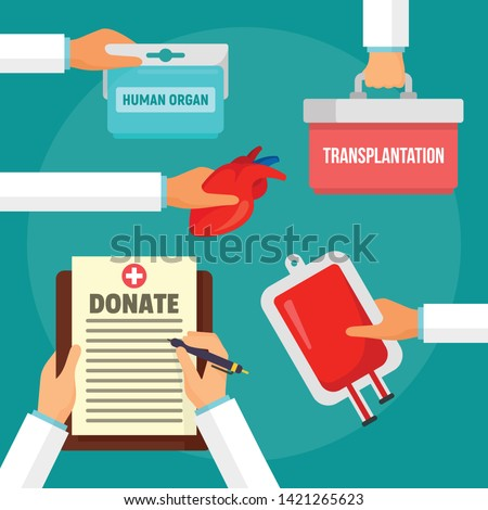Hospital donate organs concept background. Flat illustration of hospital donate organs vector concept background for web design