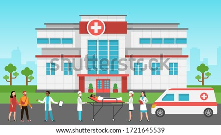 Hospital exterior. Panorama medical building, health centre. Emergency service, ambulance car, hospitalized patients and doctor vector healthcare concept
