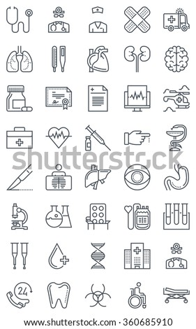 Hospital, health icon set suitable for info graphics, websites and print media. Black and white flat line icons.